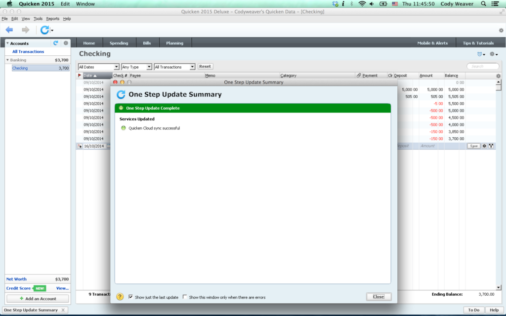 Mac running PC version of Quicken 2015 using Crossover Mac
