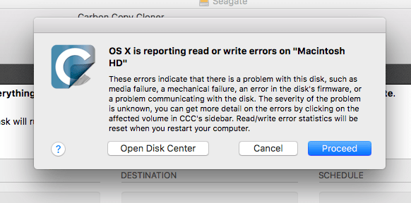"OS X is reporting read or write errors on ""Macintosh HD"""