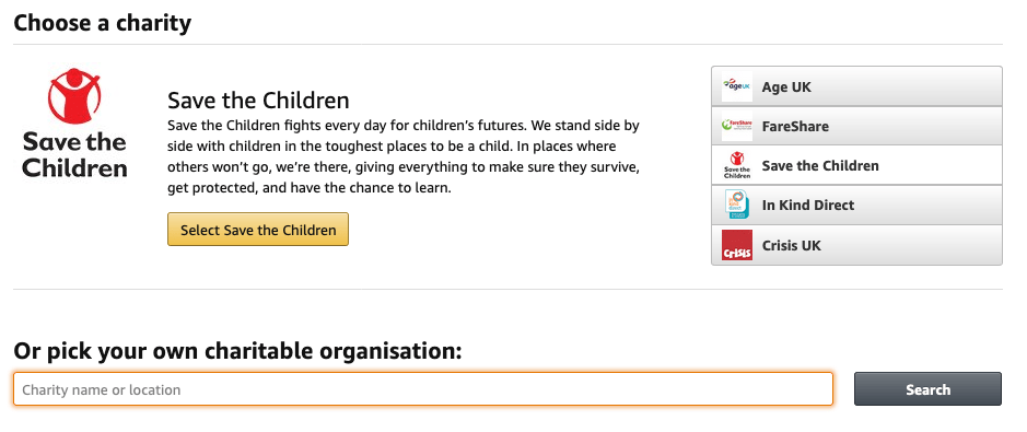 You can choose any charity you want in Amazon Smile